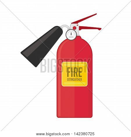 Fire extinguisher vector illustration in flat style. Safety equipment icon, fire extinguisher dry powder or foam.