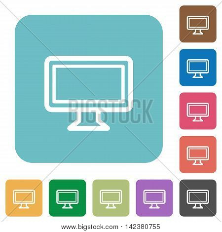 Flat monitor icons on rounded square color backgrounds.