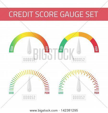Credit Score Gauge set. Manometer vector illustration in flat style. Score indicator isolated set. Vector EPS 10.