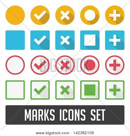 Vector check mark icons. Flat icons for web and mobile applications flat design with long shadows. Large set of flat buttons check marks and crosses. Circle and square, rounded corners.