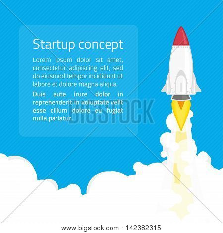 Rocket launch startup minimalist business concept in flat style. Business startup launch concept with rocket icon. Banner business development concept web infographics.
