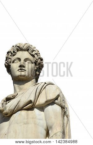 Ancient marble statue of Dioskouri at the top of monumental balustrade in Capitoline Hill Rome (without background)
