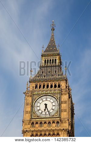 Sunny day over Big Ben in the heart of London