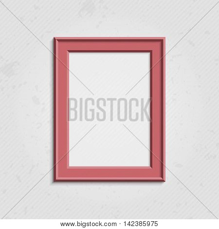 Realistic picture frame isolated on white background. Pink frame. Bright frame on a wall vector background design for your content. Realistic frame for photos or the text. Modern realistic frame.