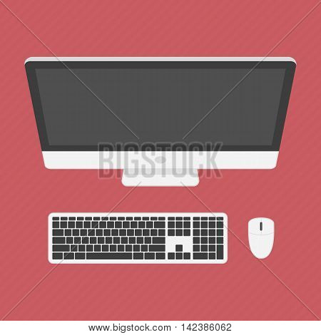 Monitor and keyboard whit computer mouse. Vector illustration of modern, personal computer in top view. Computer workstation, workplace in flat design.