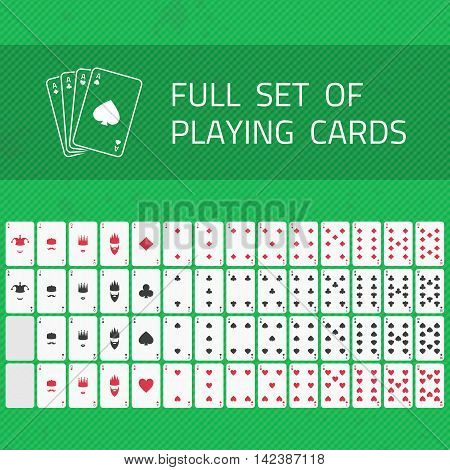 Full set of Poker cards isolated on green background. A complete set of playing cards.