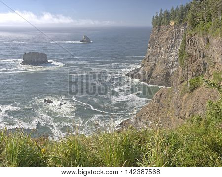 Cape Meares beach cliffs and surroundings Oregon coast.
