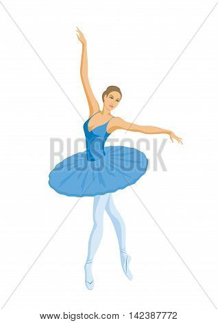 dancing ballerina in blue tutu on white background