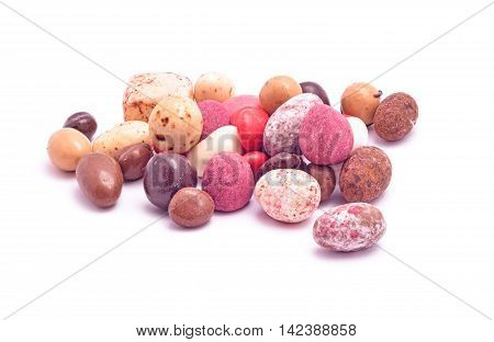 handmade candy mix isolated on white background