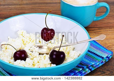 Home Dietary Fat Cottage Cheese Beaded Curd with Cherries Studio Photo