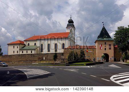 Levoca, Slovakia, July 29, 2016: The city gate of Levoca, Slovakia, Levoca is an UNESCO World Heritage Site.