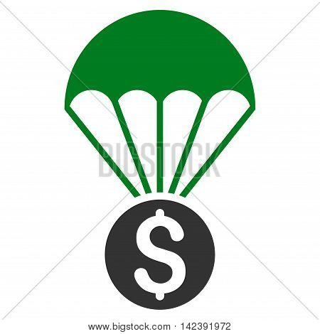 Financial Parachute icon. Vector style is bicolor flat iconic symbol with rounded angles, green and gray colors, white background. poster