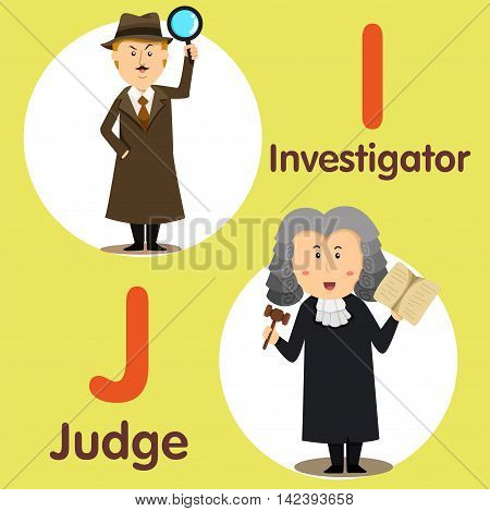 Illustrator of professional character investigator and judge