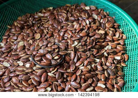 The Group Of Seed Wild Almond As Background