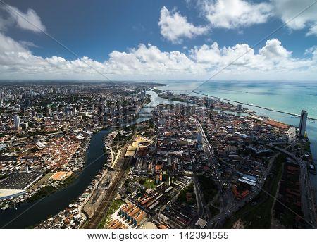 Aerial view of Recife, state of Pernambuco, Brazil
