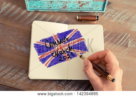 Census March 2021 United Kingdom Written On Notebook Page