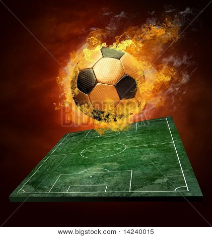 Hot soccer ball on the speed in fires flame poster