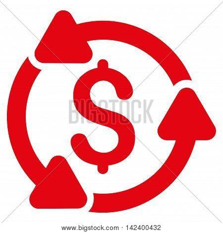 Money Turnover icon. Vector style is flat iconic symbol with rounded angles, red color, white background.