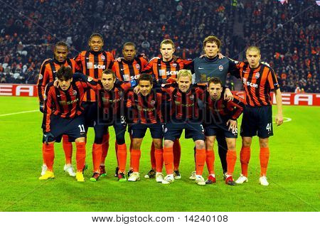 DONETSK, UKRAINE - FEB 25: Shakhtar team in match UEFA Europa League between FC Shakhtar(UKR) vs. Fuham FC(ENG) at Donbass Arena stadium February 25, 2010 in Donetsk, Ukraine.