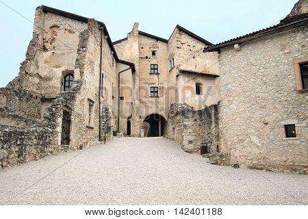 TRENTO, ITALY - APRIL 8, 2014: Castle Beseno on April 8, 2014 in Trento, Italy. It is a landmark medieval castle at Dolomites region.