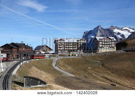 KLEINE SCHEIDEGG, SWITZERLAND- Nov 12, 2015: Railway station and village at the foot of Jungfraujoch on Nov 12, 2015 in Kleine Scheidegg, Switzerland. It is a landmark alpine resort in Switzerland.