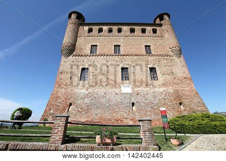 GRINZANE CAVOUR, ITALY - MAY 1, 2015: Historic castle on May 1, 2015 in Grinzane Cavour, Italy. It is a unesco world heritage site.