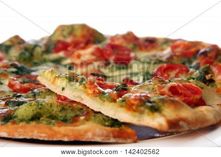 Fresh italian pizza cheese salami and tomatoes. Fast food. Rustic pizza