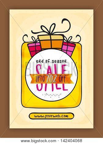 End of Season Sale Flyer, Sale Banner, Sale Pamphlet, Discount Upto 70% Off, Vector Sale Illustration.