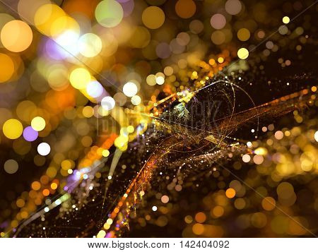 Abstract blurred background - digitally generated image. Fractal art: chaos dots and circle bokeh. Trendy festive backdrop for web desigh, cards, banners.