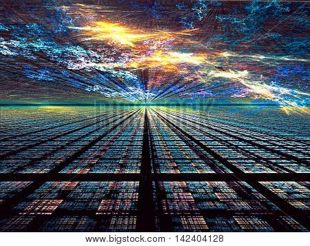Abstract technology background - computer-generated image. digital art: dark surface of the rectangular cells, similar to the way to horizon under an unusual sky. Fractal geometry pattern.