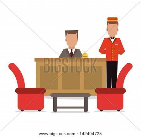 bellboy receptionist chairs hotel service icon. Colorfull and flat illustration, vector