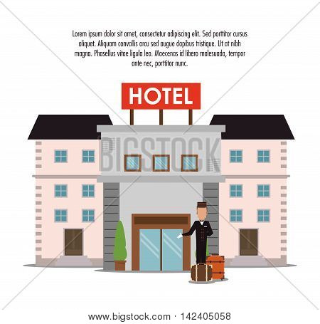 building bellboy baggage luggage hotel service icon. Colorfull and flat illustration, vector