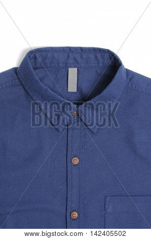 Blue plain cotton male shirt White background.