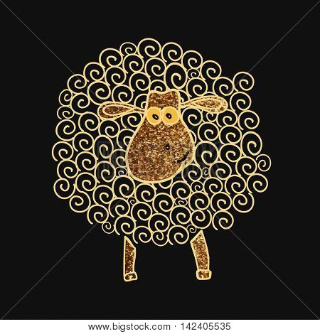 Illustration of a golden sparkling Sheep with Spirals for Muslim Community, Festival of Sacrifice, Eid-Al-Adha Celebration.