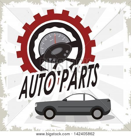 gauge rudder auto parts vehicle car repair machine garage icon. Isolated striped and grunge illustration