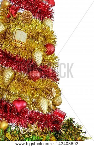 Detail of colorful decorative Christmas tree from the tinsel isolated on white background.