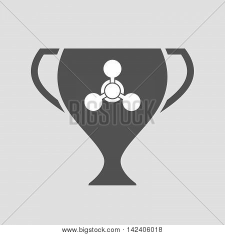 Isolated Award Cup Icon With A Chemical Weapon Sign