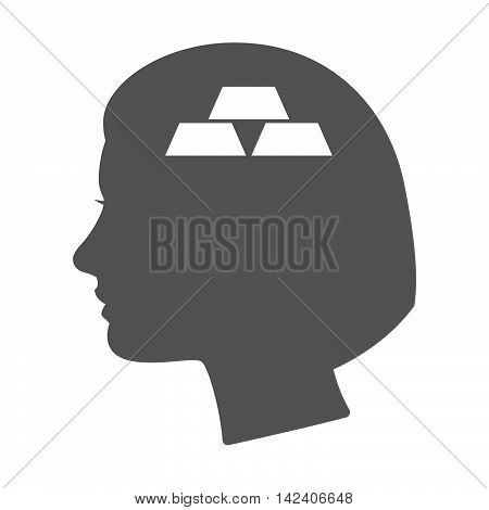 Isolated Female Head Silhouette Icon With Three Gold Bullions