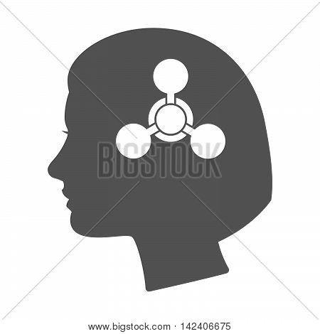 Isolated Female Head Silhouette Icon With A Chemical Weapon Sign