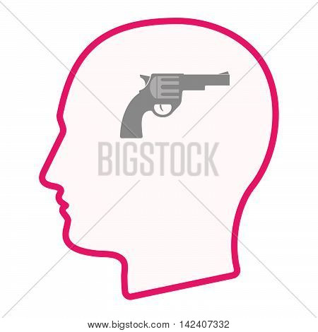 Isolated Male Head Silhouette Icon With A Gun