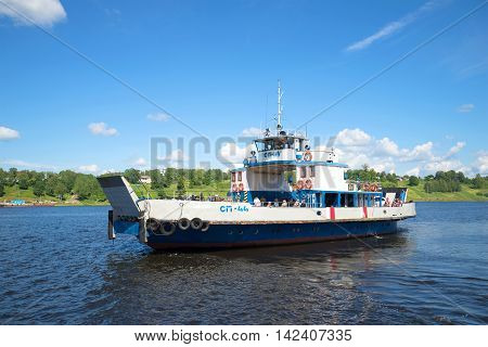 TUTAYEV, RUSSIA - JULY 14, 2016: Self-propelled cargo and passenger river ferry