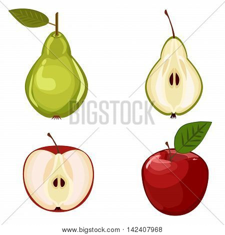 Fruits vector illustration apple and pear. Isolated on white background apple and pear fruits slices. Set of red apple and green pear healthy organic juicy vegetarian sweet fruits.
