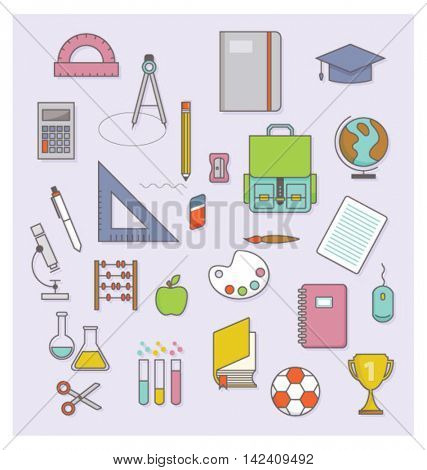 BACK TO SCHOOL FLAT ICONS COLLECTION.