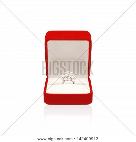 Luxury ring with pearl in red box isolated on a white background