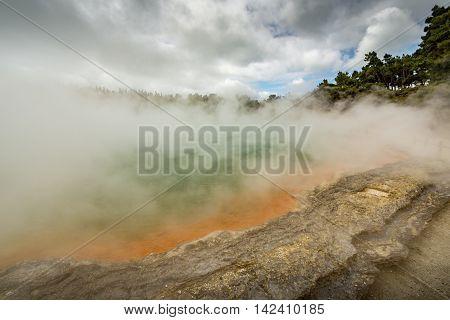 Wai-O-Tapu near Rotorua New Zealand geology geothermal poster