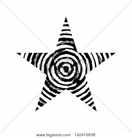 Star icon with spiral grunge texture. Vintage retro image. Design element. Black-dirty silhouette isolated on white background. Grungy template. Distress symbol. Paint brush style. Vector illustration