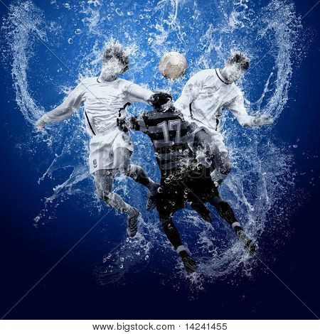 Water drops around football players under water on blue background