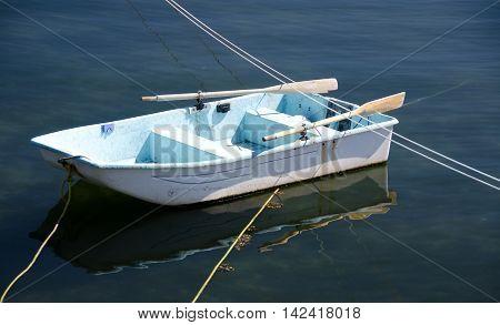 White Rowboat In Oak Bay, British Columbia