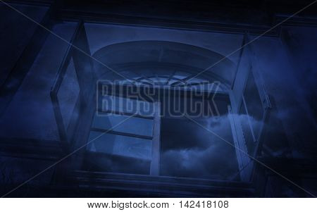 Old ancient window castle with smoke Spooky background Halloween concept