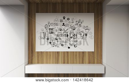 White bench large horizontal poster with abstract images pictured on it. Concept of brainstorming. 3d rendering